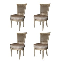 Set of Four White Painted Cane Back Chairs Stamped Jansen
