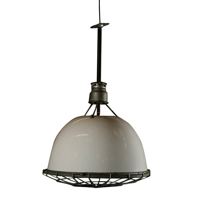 American Industrial Light Fixture With Cage. At 1stdibs