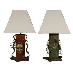 Pair of Italian Modernist Brass And Leather Embossed Pedestal Lamps W/ Shades