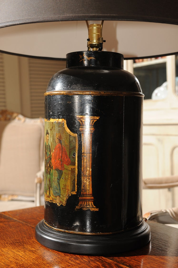 English Tole Painted Tin Tea Canister Table Lamp At 1stdibs