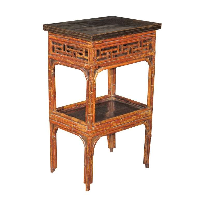 Asian Style Bamboo Painted and Ebonized Two Tier Table
