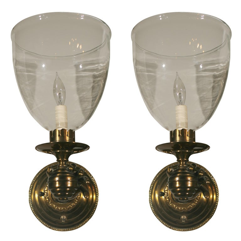 Pair Hand Sconces With Hurricane Globes At 1stdibs