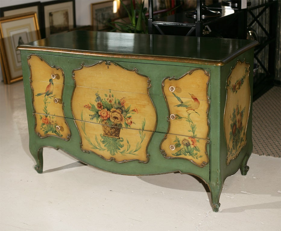 vintage cottage chest botanical painted at 1stdibs