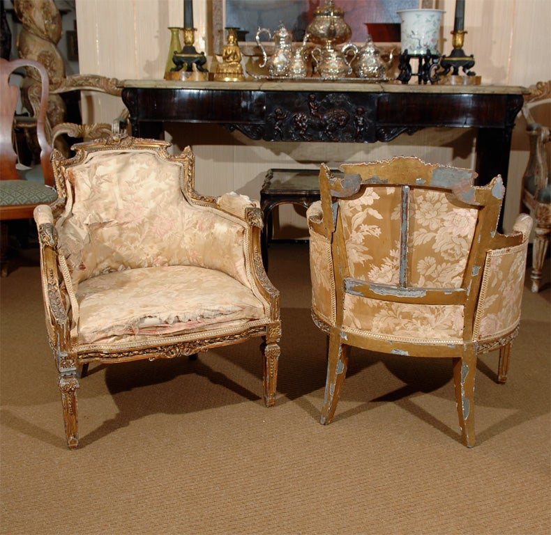 This hand painted hepplewhite style chairs is no longer available - Pair Of Diminutive Bergeres At 1stdibs