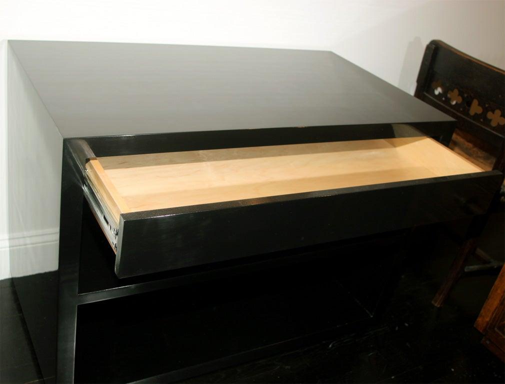 Black Modern Bedside Table: Black Lacquered Bedside Table For Sale At 1stdibs