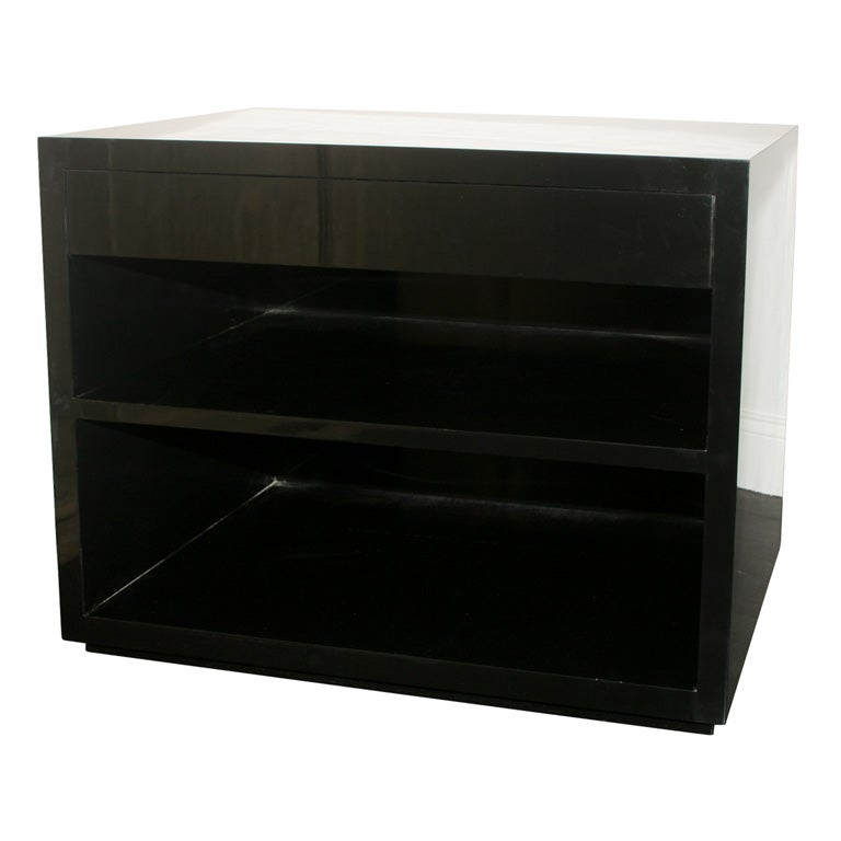 Black Lacquered Bedside Table For
