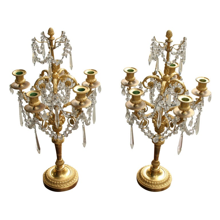 Pair Louis XVI Style Gilt Bronze and Crystal Candelabra