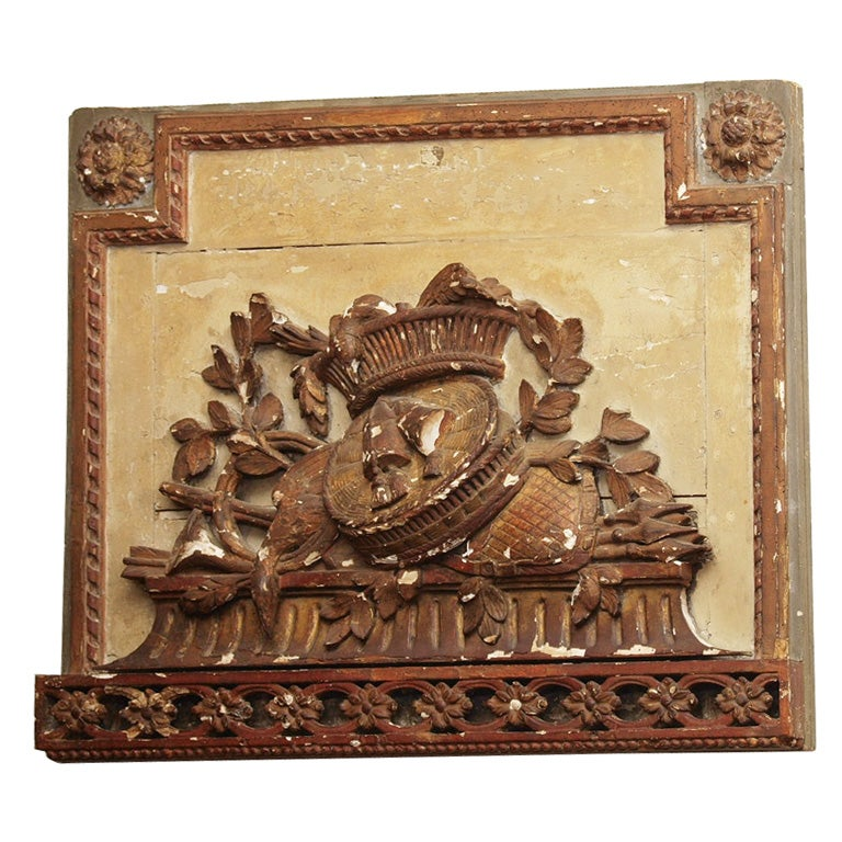 FRENCH LOUIS XVI CARVED WOOD OVERDOOR