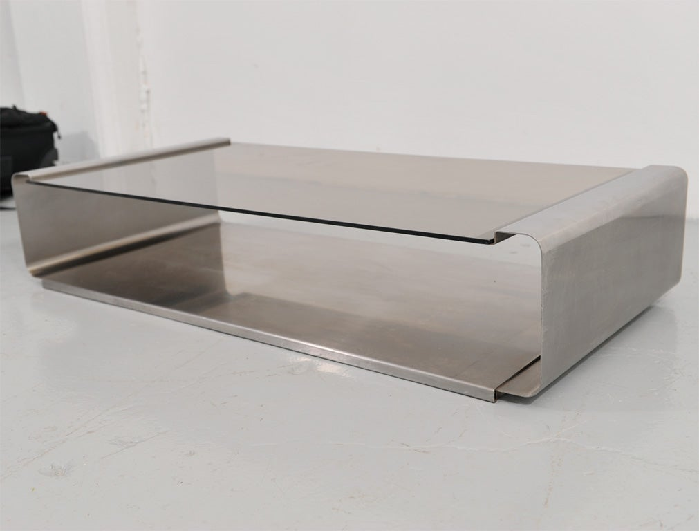 Stainless Steel And Glass Coffee Table By Francois Monnet At 1stdibs