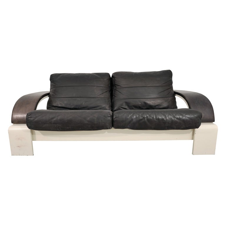 Black Leather Loveseat With White Wood Frame For Sale At 1stdibs