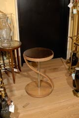 CONTEMPORARY TABLE, BLEACHED MAHOGANY, ROSE GLASS image 2