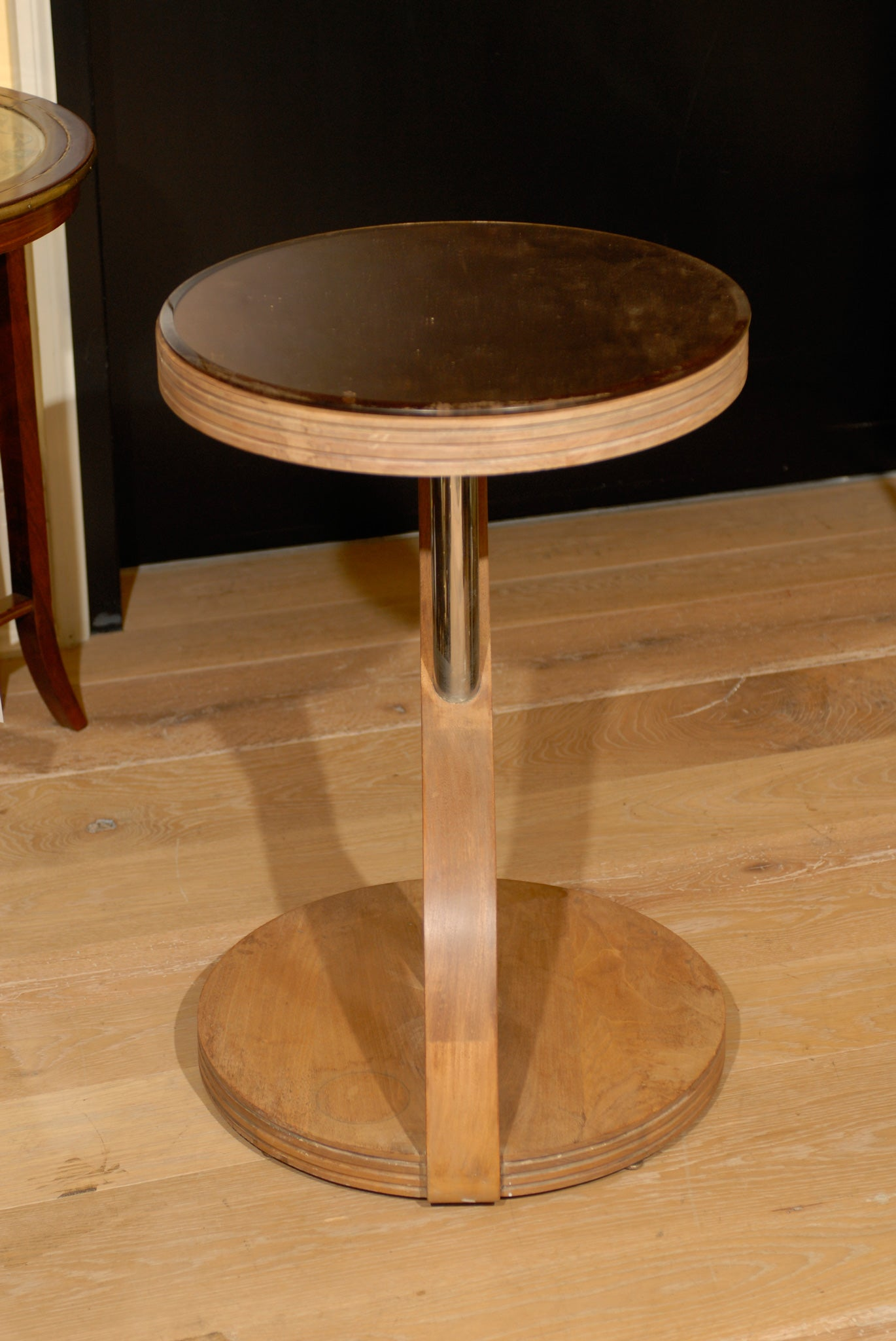 CONTEMPORARY TABLE, BLEACHED MAHOGANY, ROSE GLASS 5