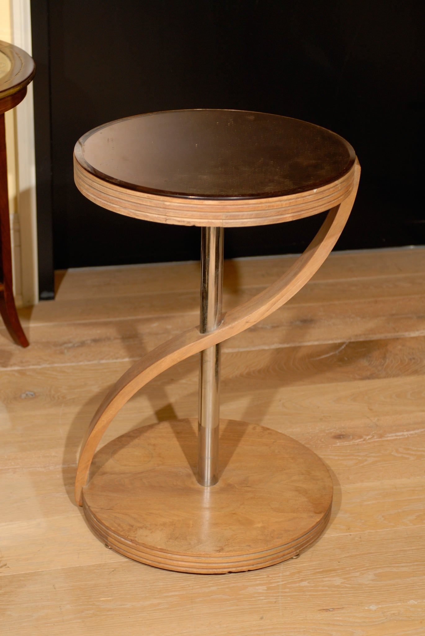 CONTEMPORARY TABLE, BLEACHED MAHOGANY, ROSE GLASS 6