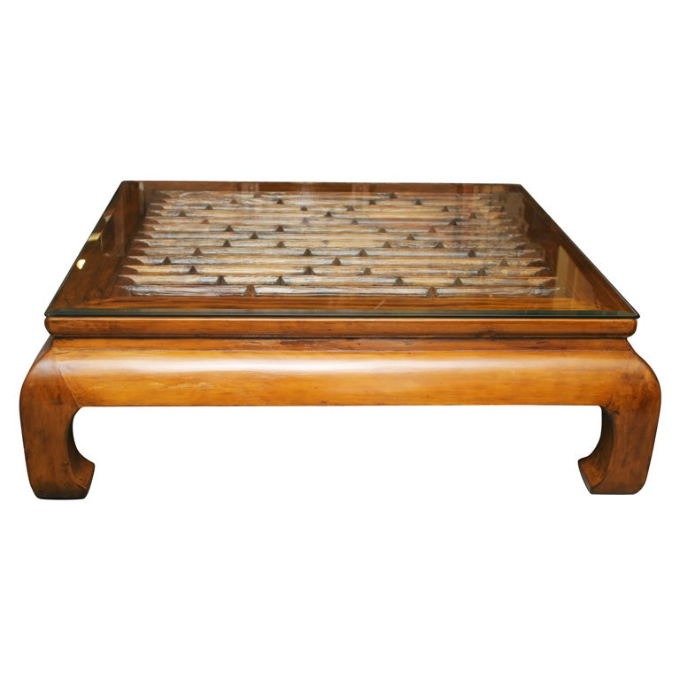 CHINESE 19TH CENTURY OPEN GRILL WORK CHOW LEG COFFEE TABLE 1