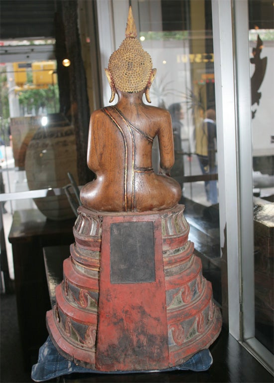 18th Century Thai Carved Teak Wood Seated Buddha Calling the Earth to Witness For Sale 2