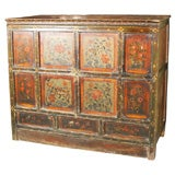 ANTIQUE TIBETAN COUNTRY BLANKET CHEST ORIGINAL PAINTED SURFACE