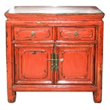 CHINESE ANTIQUE PAIR OF BEDSIDE SIDE CABINETS IN RED LACQUER