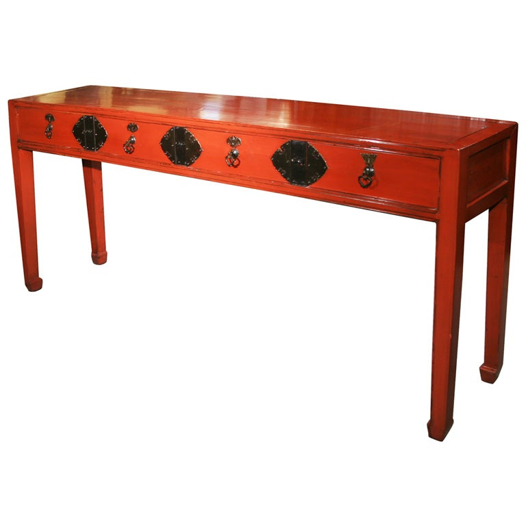 Chinese antique red lacquer altar console table with for Asian furniture nyc