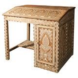 India 19th century Anglo Indian desk in bone & ebony inlay