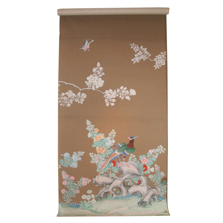 Set of Five Antique Chinese Polychrome Wallpaper Panels, Chinese, circa 1825