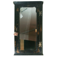 Queen Anne Period Black Japanned Hanging Corner Cabinet. English, Circa 1710