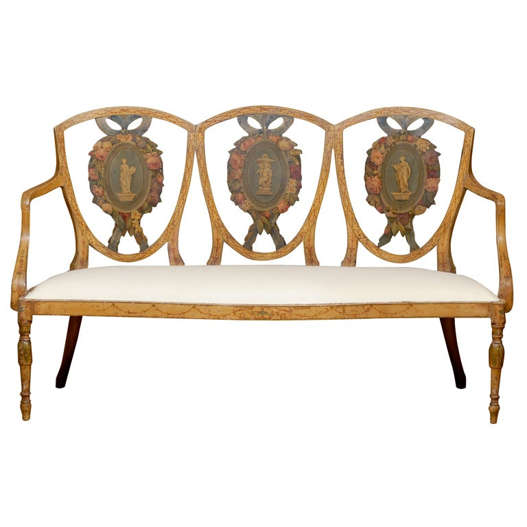 sheraton style painted bench at 1stdibs