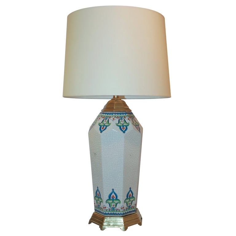 French Art Deco Ceramic Table Lamp by Longwy