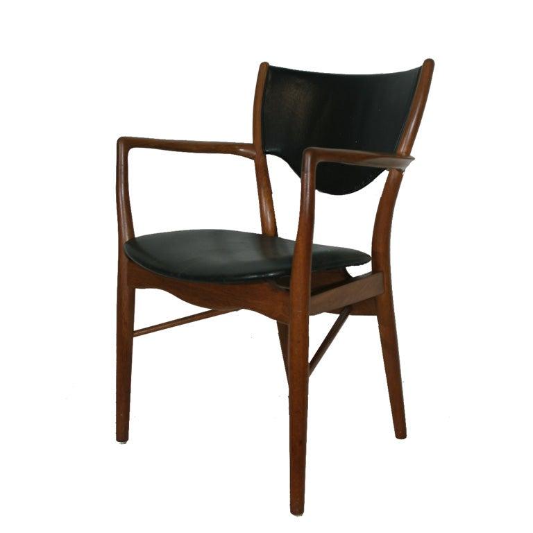 bo 46 teak and leather armchair by finn juhl 1