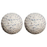 Set of Two Stone and Shell Decorated Garden Balls, Circa 1940
