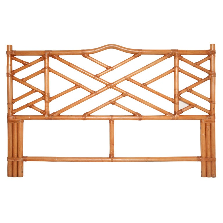 Chinese Chippendale Bed : Vintage Chinese Chippendale Rattan Headboard at 1stdibs