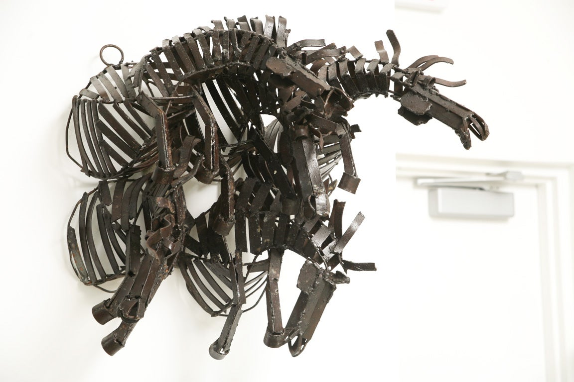Welded Iron Wall Sculpture of Wild Horses image 2