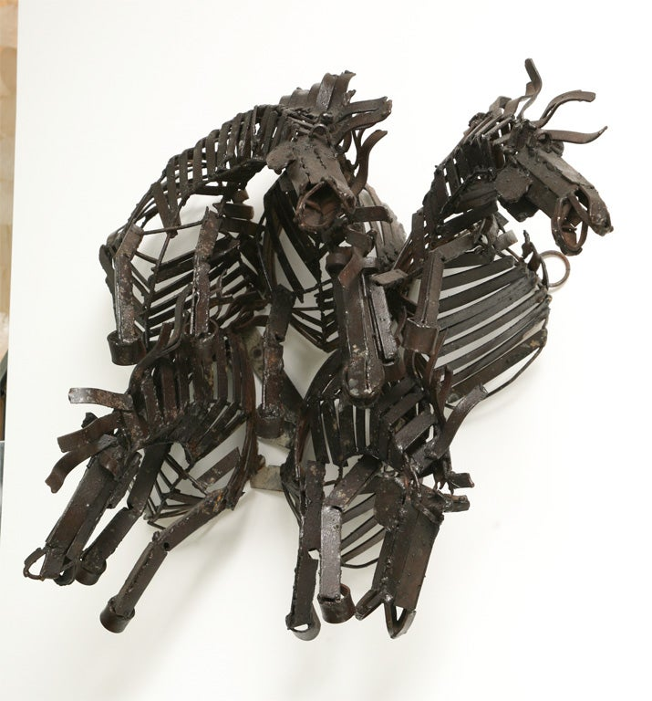 Welded Iron Wall Sculpture of Wild Horses image 3