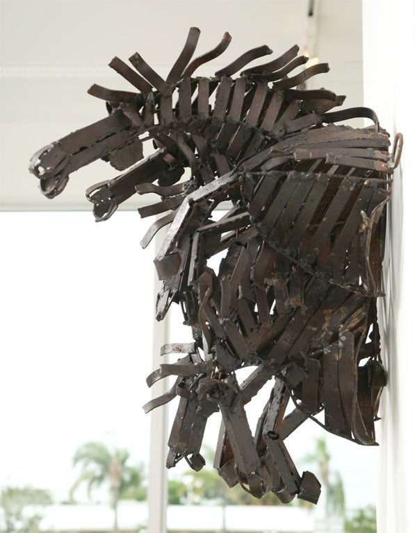 Welded Iron Wall Sculpture of Wild Horses image 4