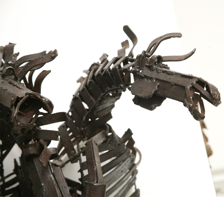 Welded Iron Wall Sculpture of Wild Horses image 6