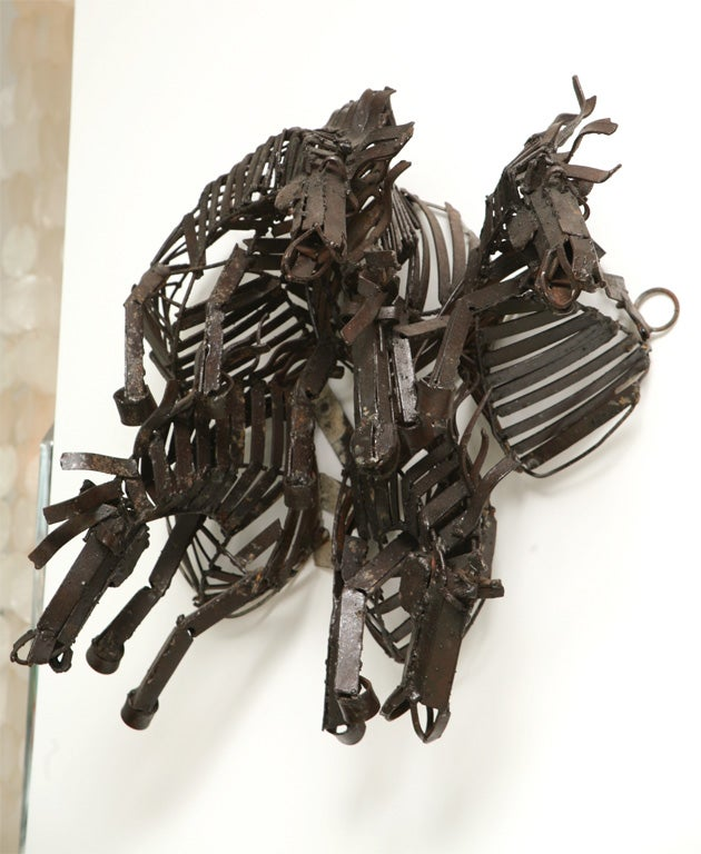 Welded Iron Wall Sculpture of Wild Horses image 9