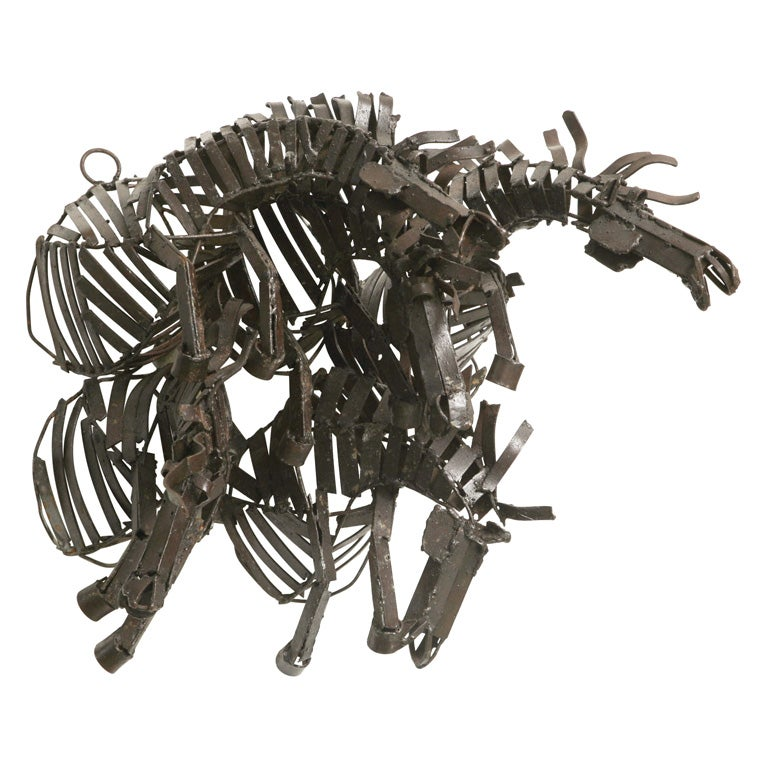 Welded Iron Wall Sculpture of Wild Horses