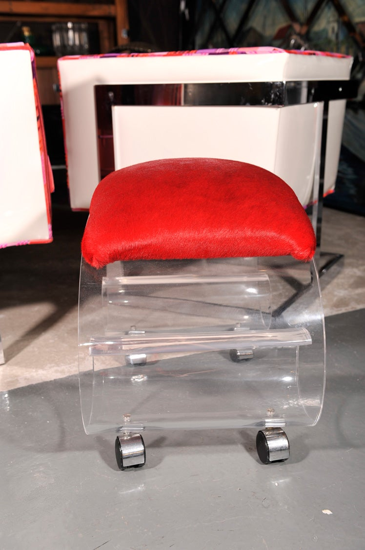 Kagan Style Lucite Scroll Rolling Seat Or Stool For Sale