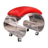 Kagan style lucite scroll rolling seat or stool