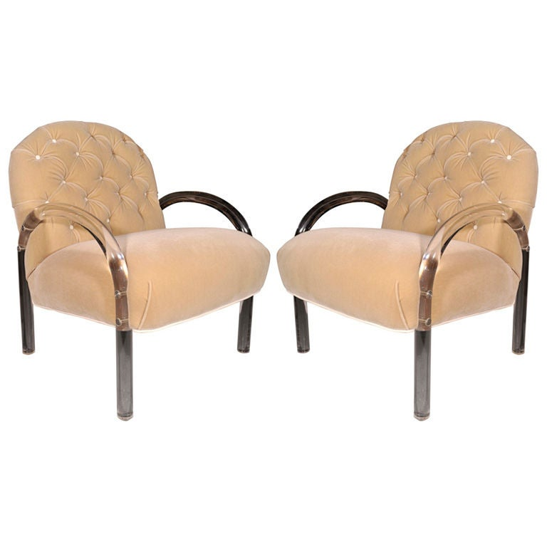 A pair of lucite and mohair arm chairs by Pace Collection