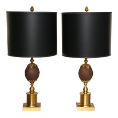 Pair of Maison Charles Coconut Table Lamps
