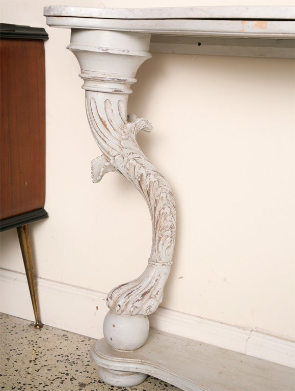 Neoclassical XIX Century st.Italian Painted Grey Console For Sale