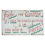 Vintage Carnival Carny Game Sign