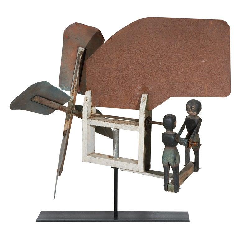 Copper and Wood American Folk Art Boxer Whilrligig
