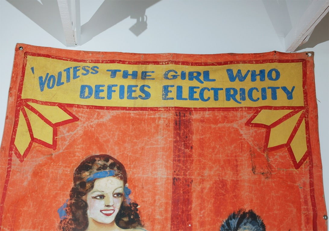 Original Coney Island side show banner from Sam Wagners World Sideshow c. 1930's.
