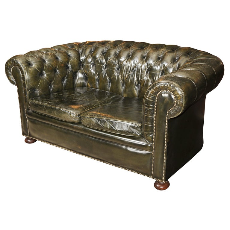 Dark Green Leather Chesterfield Sofa At 1stdibs