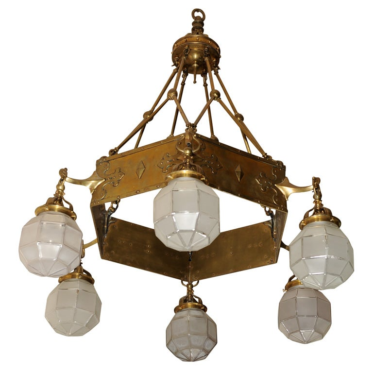 American six arm arts and crafts chandelier at 1stdibs for Arts and crafts chandelier