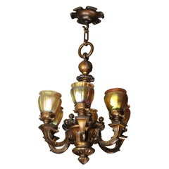 Edwardian Six-Arm Chandelier with Steuben Shades