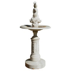 Tall 19th Century Italian Tazza Marble Fountain with Entwined Dolphins