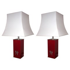 Two 1970s Lamps by the Decorator Jean-Claude Mahey
