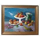 "1950-1960 ""Les Fruits"" Painting by Mério Améglio"